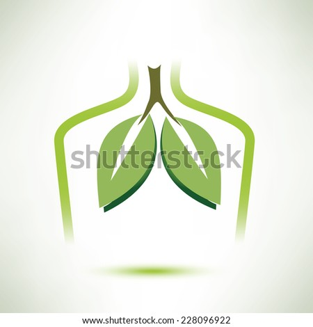 lungs isolated vector symbol, in soft green color stylized as a leaves - stock vector