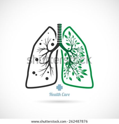 Lungs symbol, on a white background, health. - stock vector