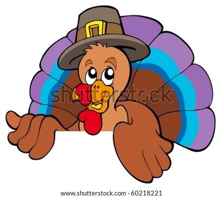 Lurking cartoon turkey in hat - vector illustration. - stock vector