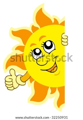 Lurking Sun with hands - vector illustration.