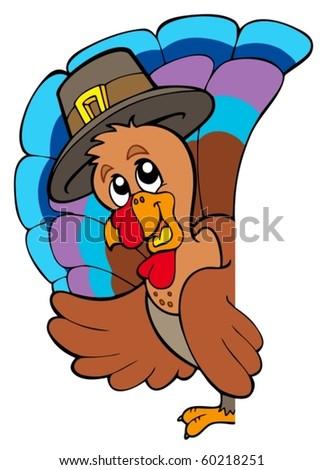 Lurking Thanksgiving turkey - vector illustration. - stock vector