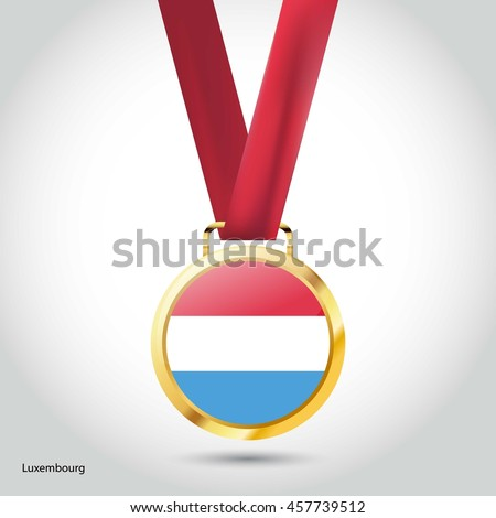 Luxembourg Flag in Silver Medal. Vector Illustration. RIO Olympic Game gold Medal. Vector Illustration