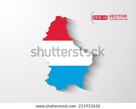 Luxembourg map with shadow effect - stock vector
