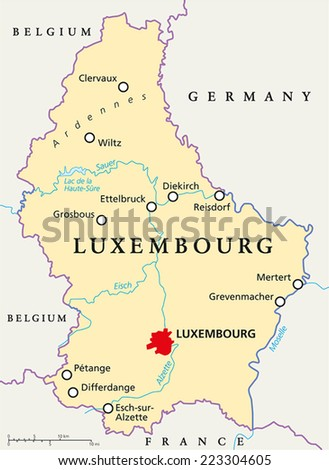 Luxembourg Political Map Capital Luxembourg National Stock Vector - Luxembourg map