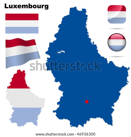 Luxembourg vector set. Detailed country shape with region borders, flags and icons isolated on white background. - stock vector
