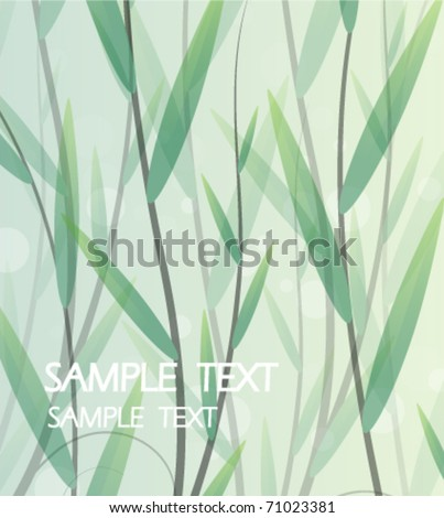 Luxuriantly growing sprouts on smoky background - stock vector