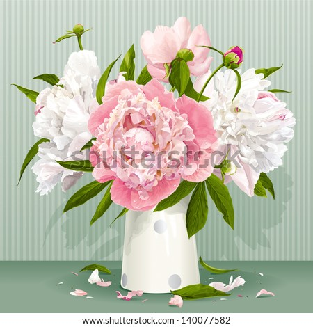 Luxurious pink and white peonies bouquet with leaves and buds in the porcelain vase - stock vector