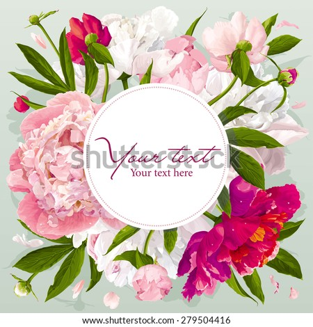 Luxurious pink, red and white peony greeting card with a round label - stock vector