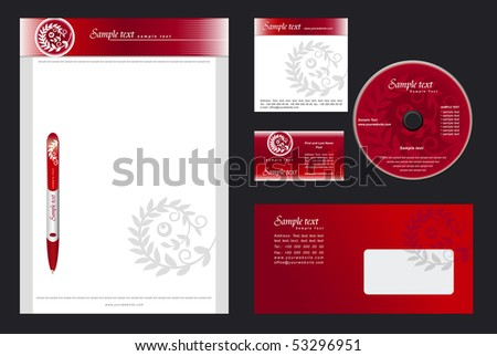 Luxurious  red template vector background for  casino, restaurant, hotel - blank, card, cd, note-paper, envelope, pen