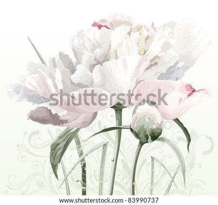 Luxurious white peony flower painted in pastel colors with bud and floral pattern - stock vector