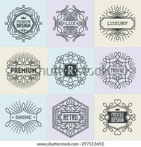 Luxury Assorted Insignias Retro Design Logotypes Template Set. Line Art Vector Vintage Style Elements. Elegant Geometric Shiny Frames. - stock vector