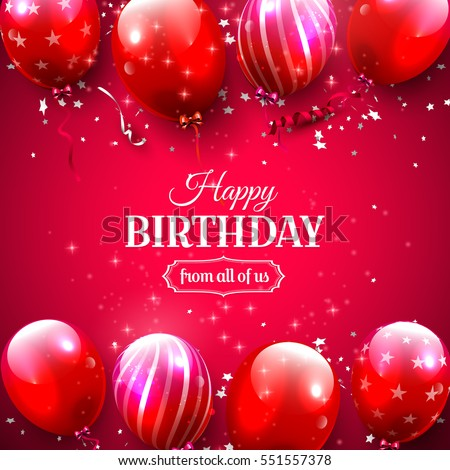 Luxury Birthday Greeting Card Red Balloons Stock Vector Hd Royalty