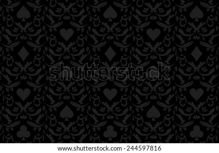 Luxury black poker background with card symbols - stock vector