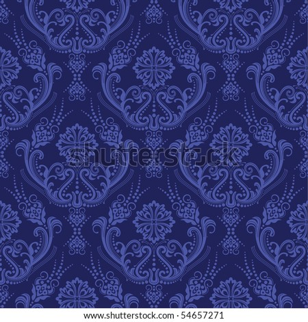 Luxury blue floral damask wallpaper - stock vector