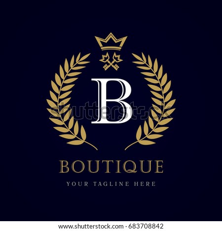 Luxury Boutique Crown Key Letter B Stock Vector 683708842 - Shutterstock