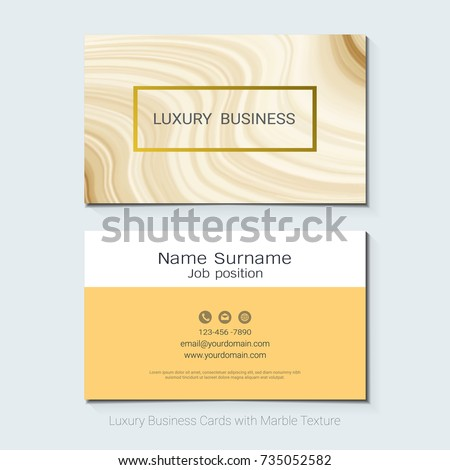 Luxury Business Cards Vector Template Banner And Cover With Gold Marble Texture Foil