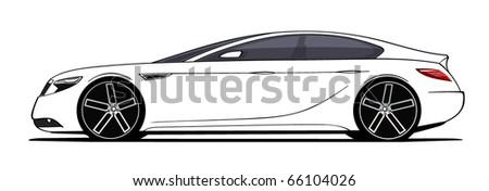 Luxury car side view  - Original design - stock vector
