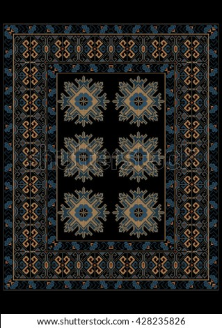 Luxury carpet in blue shades with ethnic ornament on the border and the middle  - stock vector