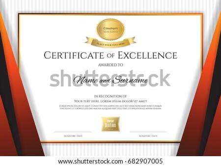 Luxury certificate template elegant black orange stock vector luxury certificate template with elegant black orange border frame diploma design for graduation or completion yadclub Images