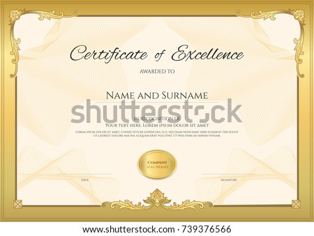 Luxury Certificate Template With Elegant Border Frame, Diploma Design For  Graduation Or Completion  Certification Of Completion Template
