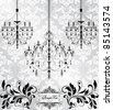 Luxury chandelier on floral background - stock vector