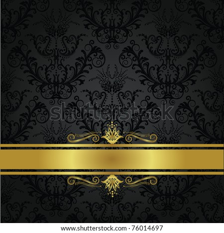 Luxury charcoal and gold gothic book cover. Can be used as a seamless wallpaper. - stock vector