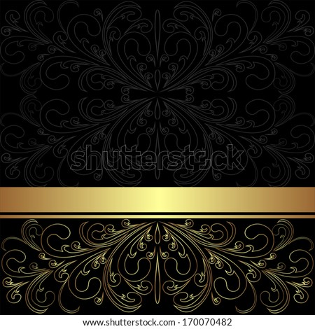 Luxury charcoal Background with golden lacy Border. - stock vector