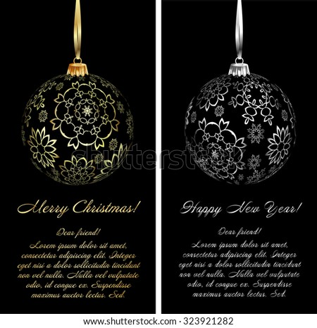 Luxury Christmas card background with ornaments. Vector Illustration. - stock vector