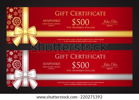 Luxury Christmas gift certificate with golden or silver ribbon and snowflakes - stock vector