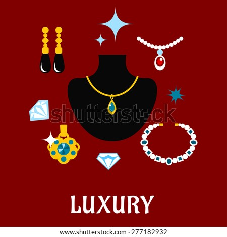 Luxury concept displaying expensive jewelry with gemstone necklaces, pendants and earrings with shiny diamonds around a central display bust, vector illustration - stock vector