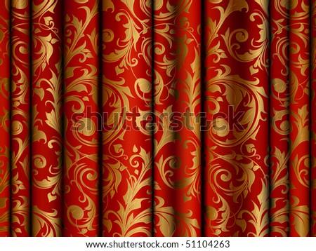 Luxury Curtain, vector background - stock vector