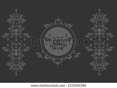 Luxury decoration for borders & frame. Classical baroque design inspired by oak tree ornament with leaves and acorns in black and white. Suitable for elegant cards invitations and menus - stock vector