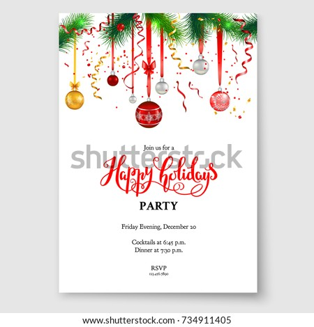 Luxury Decoration Fir Balls Winter Holiday Stock Vector