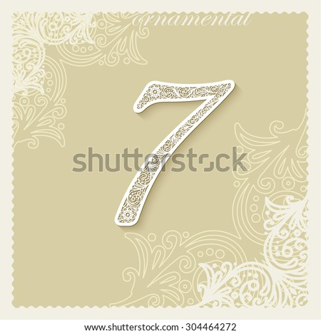 Luxury decorative calligraphic cursive digit seven (7) cut out of paper, three-dimensional, with shadows. Against the background of the ornament. EPS10 - stock vector
