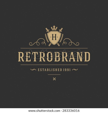 Luxury Design Element in Vintage Style for Logotype, Label, Badge, T-shirts and other design. Retro vector illustration. - stock vector