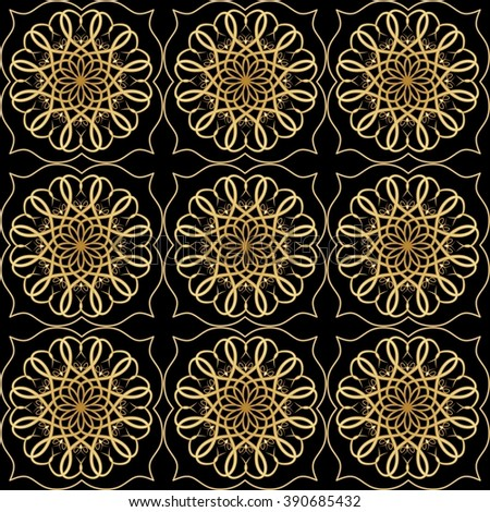 Luxury elegant background with golden filigree circular lace patterns on black background, embossed rich ornament in antiquarian style - stock vector
