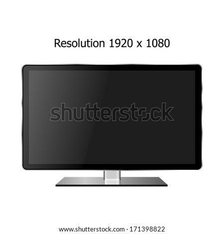 luxury flat computer display,television,monitor screen lcd, led with Silver Edge isolated vector (resolution 1920 x 1080) - stock vector