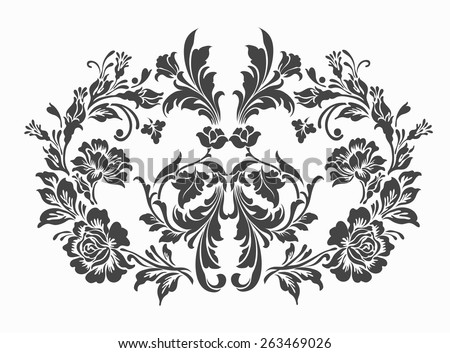 luxury flower with damask design sketch,flower motif,lace pattern - stock vector