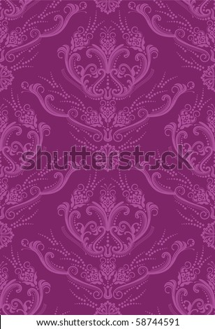 Luxury fuchsia floral wallpaper - stock vector