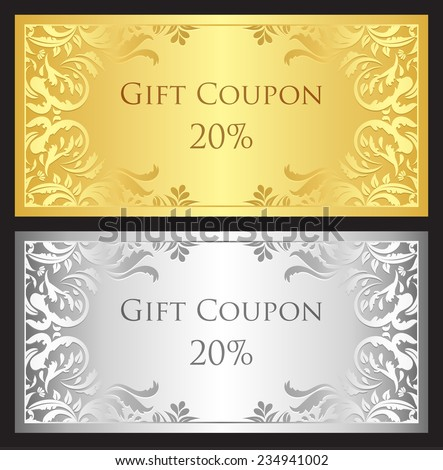 Luxury gift coupon with gold and silver victorian ornament - stock vector