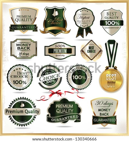 Luxury gold and green labels - stock vector