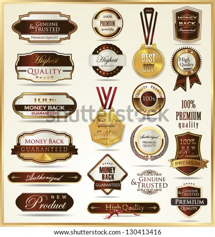 Luxury gold and red labels - stock vector