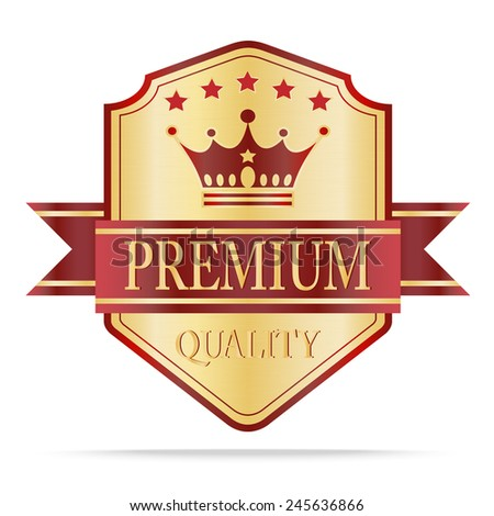 Luxury gold and red  quality shields with ribbon.Vector illustration - stock vector
