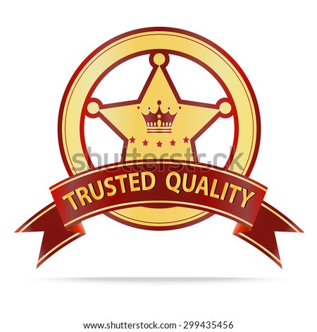 Luxury Gold and red ribbon trusted quality shields label .Vector illustration - stock vector