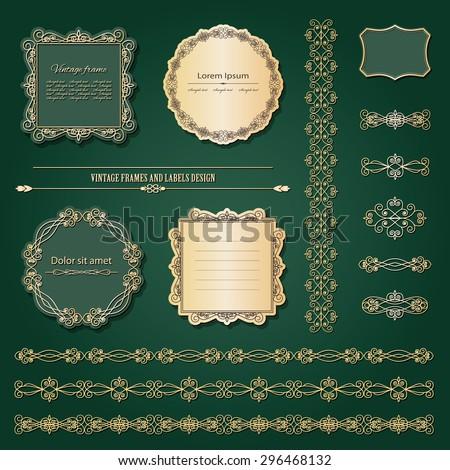 Luxury gold frames and labels set. Ornamental borders. - stock vector