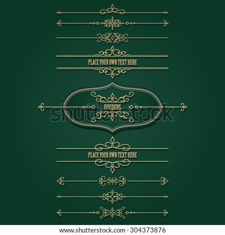 Luxury golden frames and dividers set. Calligraphic design elements. - stock vector