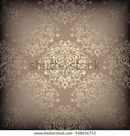 Luxury golden wallpaper, damask design  - stock vector