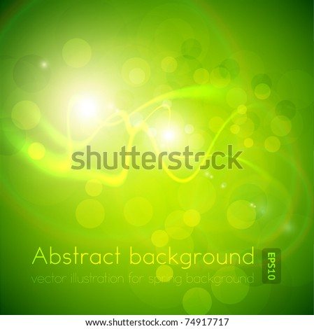 Luxury green bright greeting card. Vector spring background. Eps10.