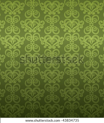 Luxury green ornamental pattern - stock vector