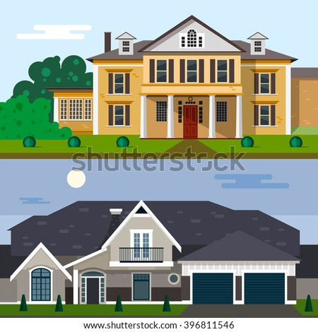 Luxury house exterior vector illustration in flat style design. Home facade and yard. - stock vector